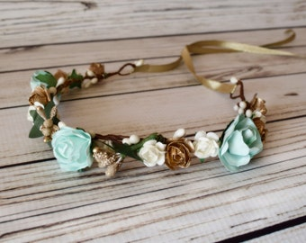 Handcrafted Mint Gold and Ivory Flower Crown - Mint Flower Halo - Aqua Flower Crown - Pastel Flower Crown - Renaissance Flower Halo - Adult