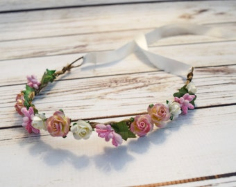 Handcrafted Pink Ivory Cream Rose Flower Crown - Spring Flower Crown - Renaissance Flower Halo - Woodland Halo - Flower Girl Halo - Bows