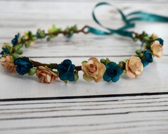 Handcrafted Peach and Teal Flower Crown - Renaissance Flower Crown - Flower Girl Halo - Peach Hair Accessory - Adult Flower Crown - Woodland