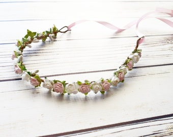 White and Pastel Pink Flower Crown - Wedding Hair Accessory - Flower Girl Halo - Light Pink Bridesmaid - Pink Woodland Halo - Maternity Halo