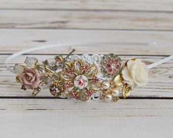 Handcrafted Vintage Rose Jewelry Headband - Bridal Tiara - One of a Kind Tiara - Pink Ivory White Gold Wedding - Romantic Wedding Hair Piece