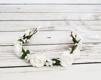 Handcrafted Soft White Rose and Berry Flower Crown - White Flower Girl Halo - White Bridal Flower Crown - White Woodland Halo - Renaissance