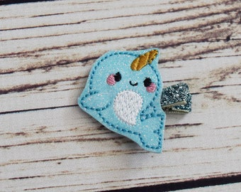 Handcrafted Glitter Blue Narwhal Feltie Clip - Small Hair Bows - Cute Narwhal Gift - Christmas Stocking Stuffer - Narwhal Birthday Hair Clip