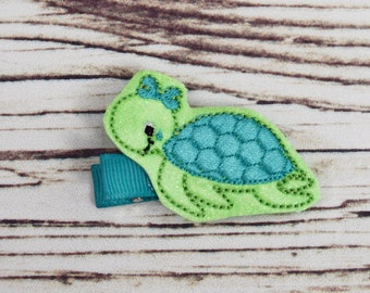 Handcrafted Deep Aqua and Green Sea Turtle Feltie Clip - Turtle Lover - Small Hair Clip - Summer Hair Bows - Sea Turtle Birthday Feltie Clip