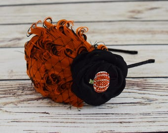 Halloween Pumpkin Headband - Adult Halloween Headband - Black and Orange Hair Accessory - Fancy Feather Headpiece - Roaring 20s Party Girl