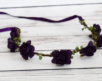 Handcrafted Plum Purple Flower Crown - Adult Flower Crown - Plum Wedding Accessory - Fall Flower Crown - Woodland Halo - Dark Purple Bridal