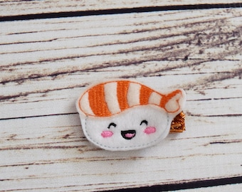 Handcrafted Sushi Feltie Clip - Orange and White Hair Clip - Baby Girl Bows - Sushi Stocking Stuffer - Sushi Birthday Girl - Small Hair Clip