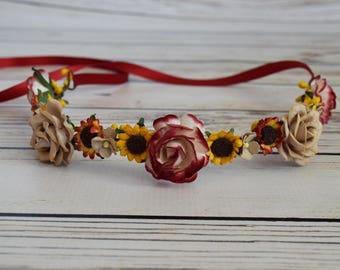 Handcrafted Neutral Sunflower Flower Crown - Neutral Tan Yellow and Red Flower Crown - Sunflower Wedding Hair - Flower Girl Halo - Bridal