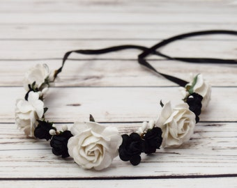 Handcrafted Elegant White and Black Rose Flower Crown - Black and White Hair Wreath - Black and White Wedding - Bridal Flower Crown - Halo