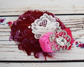 Handcrafted Vintage Rose Feather Headband - 1920s Style Headpiece - Wine Lilac Pink White - Fancy Baby Headband - Adult Roaring 20s Headband
