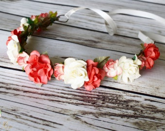 Handcrafted Coral and Ivory Flower Crown - Coral Wedding Accessory - Ivory Hair Wreath - Bright Coral Headband - Coral Bridesmaid - Rose Bow