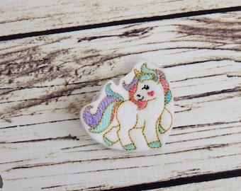 Handcrafted Gorgeous White Fantasy Unicorn Feltie Clip -Small Unicorn Accessory - Unicorn Birthday Bow - Unicorn Christmas Stocking Stuffer