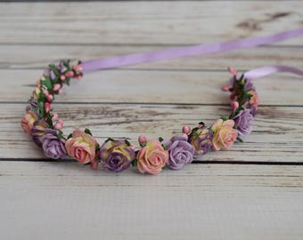 Handcrafted Baby Spring Flower Crown - Purple Pink and Light Yellow Flower Crown - Newborn Flower Crown - Rose Halo - Infant Flower Crown