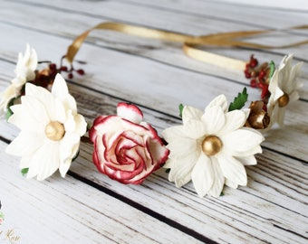 Handcrafted Red Gold and Off White Flower Crown - Woodland Christmas Headband - Adult Flower Crown -Poinsettia Hair Accessory -Daisy Wedding