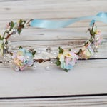 Pastel Pearl Rose Flower Crown - Rhinestone Flower Crown - Unicorn Hair Accessory - Blue Pink Yellow Green Orange Headband - Pastel Hair Bow