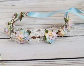 Handcrafted Pastel Pearl Rose Flower Crown - Rhinestone Flower Crown - Unicorn Hair Accessory - Blue Pink Yellow Green Orange Headband - Bow