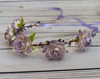 Handcrafted Dusty Lavender Pearled Rose Flower Crown - Adult Flower Crown - Purple and White Flower Crown - Bridal Flower Crown - Toddler