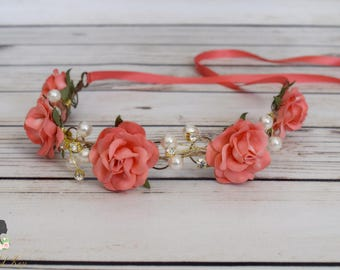 Handcrafted Coral Rose Pearl and Rhinestone Flower Crown - Coral Wedding Accessory - Coral Flower Girl Halo - Coral Bridal Hair Accessory