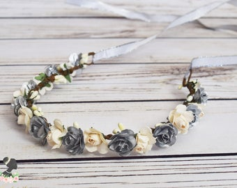 Handcrafted Silver and Cream Flower Crown - Small Flower Crown - Christmas Flower Crown - Winter Wedding Rose Halo - Flower Girl Crown