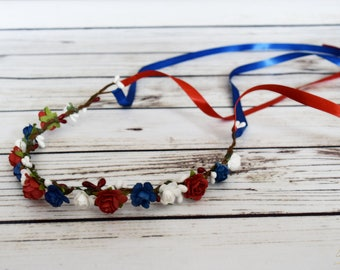 4th of July Flower Crown - Red White and Royal Blue Flower Crown - Flower Girl Halo - Woodland Flower Crown - Patriotic Flower Girl Crown