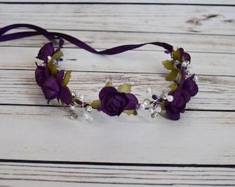 Handcrafted Elegant Dark Purple Rose Flower Crown - Bridal Flower Crown - Purple Wedding Hair Wreath - Woodland Halo -Pearl Rhinestone Crown