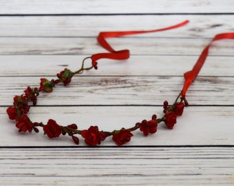 Handcrafted Dainty Red Rose Flower Crown - Red Rose Wedding Accessory - Small Flower Crown - Flower Girl Halo - Woodland Hair Wreath