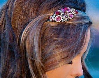 Old Hollywood Glamour Side Tiara - Vintage Headband - Garnet Red and Pink - Bridal Headband - Vintage Jewelry Collection Headband