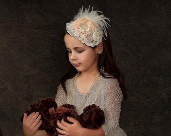 Handcrafted Neutral Over the Top Bow Headband - Ostrich Feather Hair Piece - Fancy Baby Headband - Burlap Wedding Headband - Christmas Bows