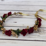 Handcrafted Burgundy Wedding Hair, Bridal Flower Crown, Wine Gold Floral Crown,Veil Wreath Bridesmaid Hair Wreath Boho Flower Girl Fall Vine