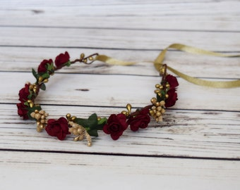 Handcrafted Burgundy and Gold Flower Crown - Flower Halo - Bridesmaid Flower Crown - Autumn Flower Crown - Winter Rose - Ribbon Tie Back