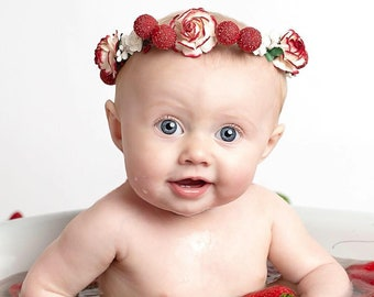 Handcrafted Strawberry Flower Crown - Red and White Flower Crown - Strawberry Hair Accessory -Rose Berry Flower Crown - Baby Flower Halo