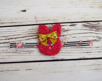 Handcrafted Spring Rose Bunny Headband - Easter Bunny Headband - Hot Pink Gold Black White - Gold Baby Bows - Spring Toddler Headband - Chic