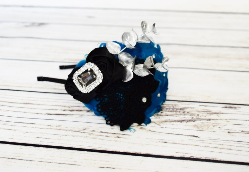 Turquoise and Black Feather Headband 1920s Headpiece Teal image 0