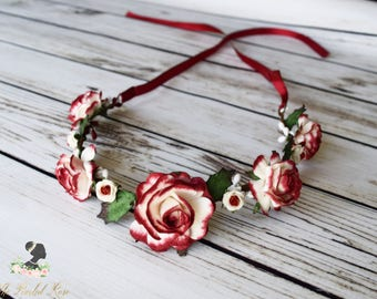 Deep Red and Off White Holiday Flower Crown - Holly Leaves Headband - Christmas Wedding Hair - Romantic Bridal Flower Crown - Flower Girl