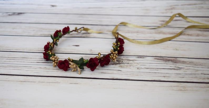 Handcrafted Burgundy Wedding Hair Bridal Flower Crown Wine image 0