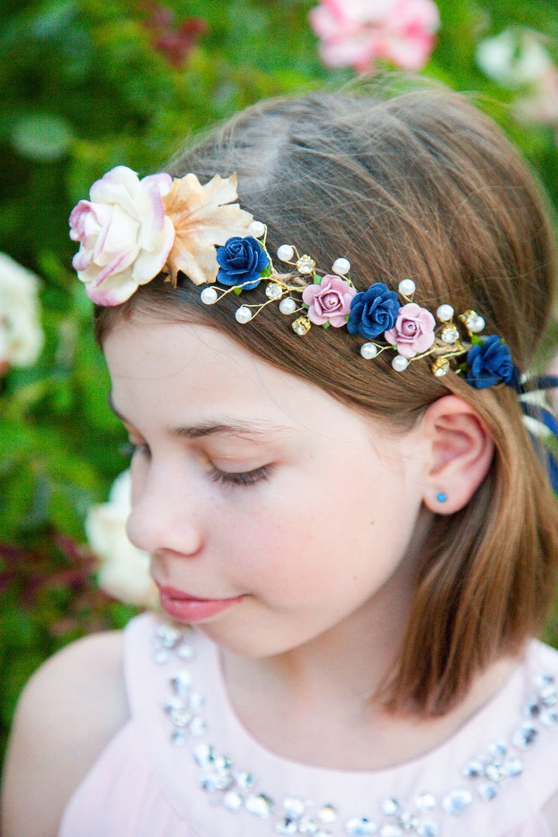Handcrafted Gold Leaves Fall Flower Crown Dusty Rose Navy image 0