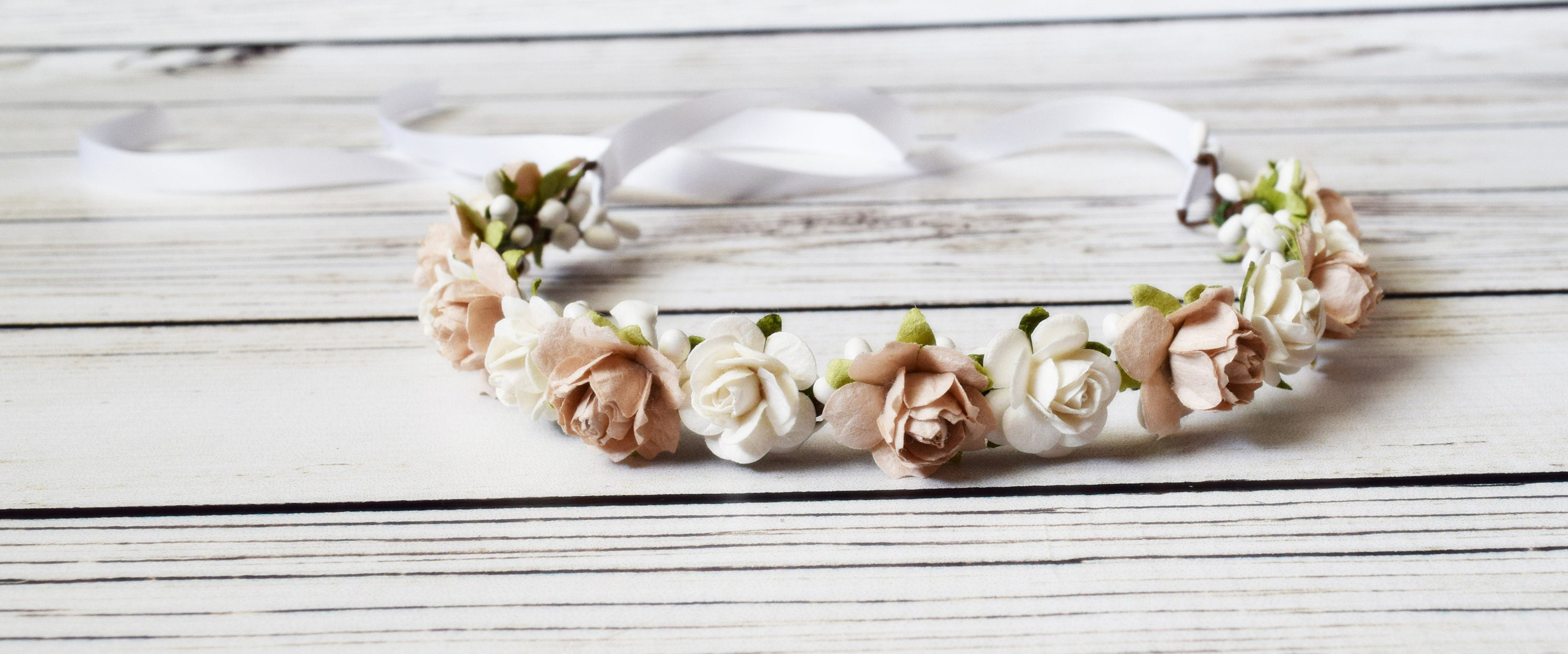 Pale Blush Flower Crown Boho Flower Crown Small Flower Etsy
