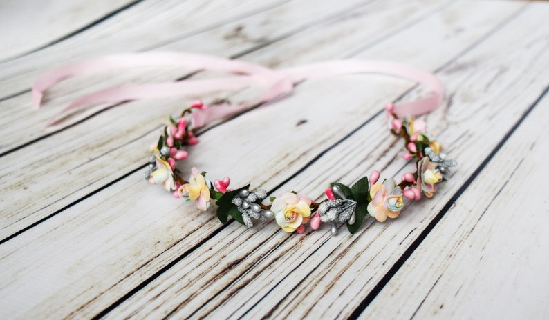 Handcrafted Pastel Rainbow Floral Crown Silver Berry Hair image 0