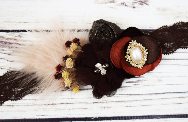 Handcrafted Rust and Brown Fall Headband Fancy Feather Head image 0