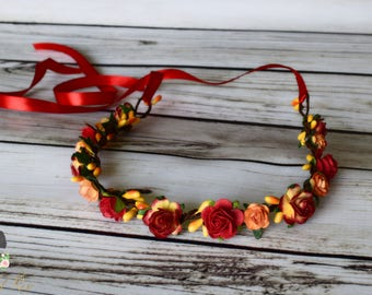 Red Yellow and Soft Orange Flower Crown - Fall Flower Crown - Bridal Flower Crown - Sunset Wedding - Flower Girl Halo - Red Autumn Crown