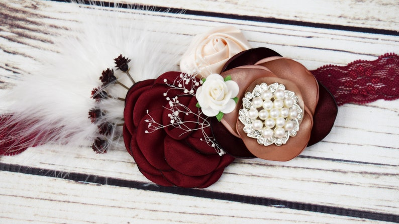 Handcrafted Burgundy Blush Cream and White Fancy Headband image 0