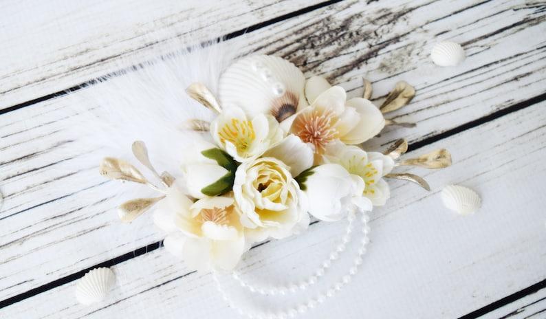 Cream and White Sea Shell Mermaid Hair Pearl Bridal Hair image 0