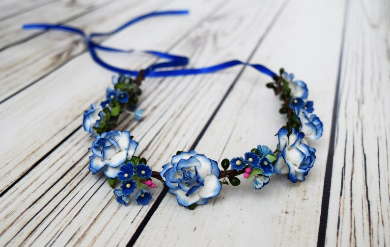 Handcrafted Royal Blue and White Flower Crown Winter Hair image 0