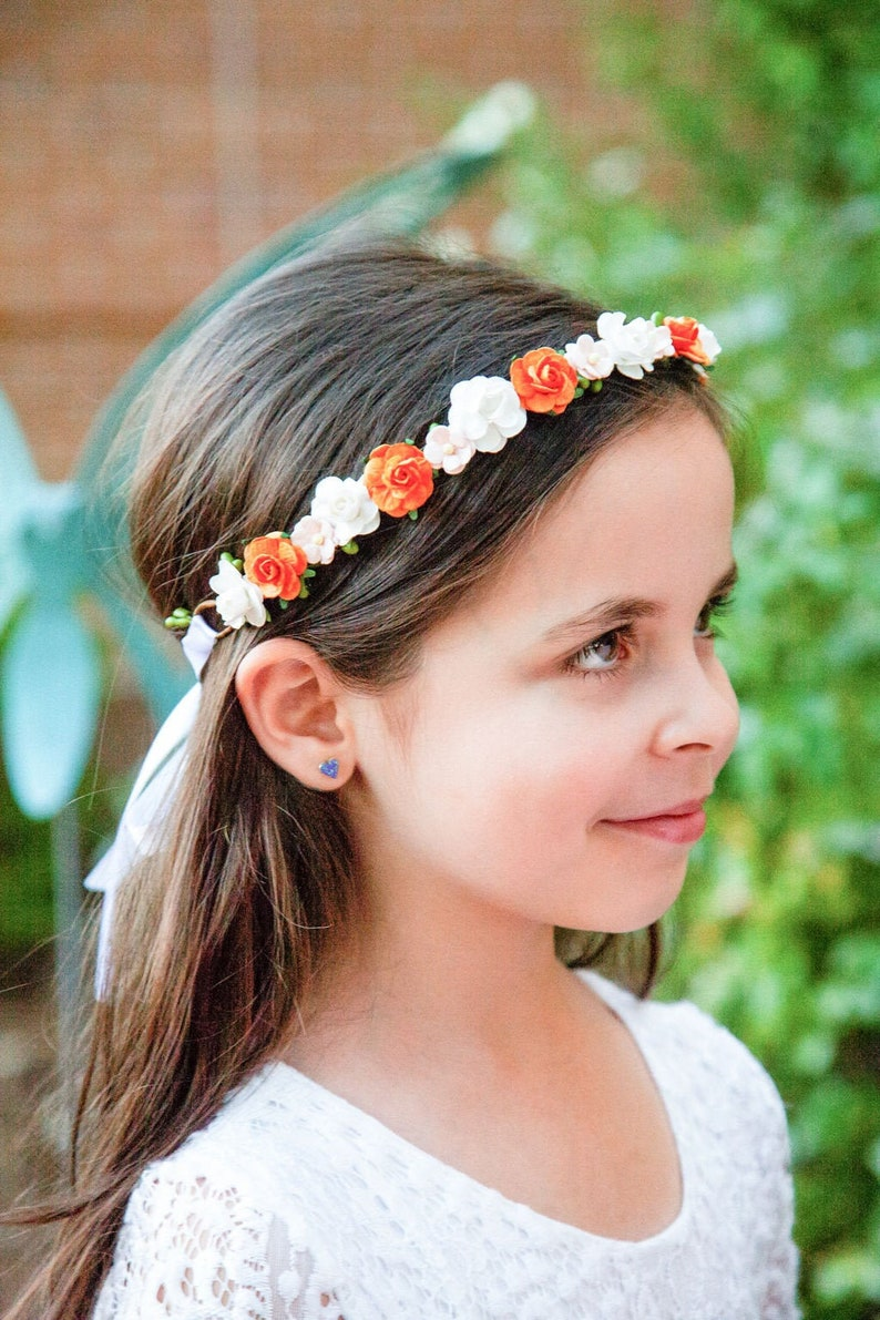 Handcrafted Orange Blush White Flower Crown Fall Flower Girl image 0