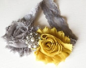 Mustard Yellow and Grey Headband - Shabby Flower Headband - Shabby Mustard Rose Headband - Mustard Headband - Mustard Baby Girl Bows - Kids