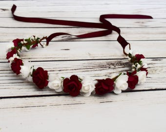 White and Burgundy Flower Crown - Wine Flower Hair Wreath - Rose Flower Girl Crown - Burgundy Wedding Accessory - Fall Bridal Flower Crown