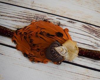 Handcrafted Vintage Style Fall Headband - Brown and Orange Feather Headband - Thanksgiving Baby Headband - Autumn Toddler Headband - Glitter