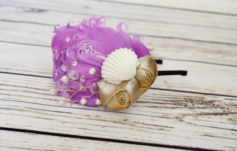 Lilac and White Vintage Mermaid Headband Sea Shell Hair image 0