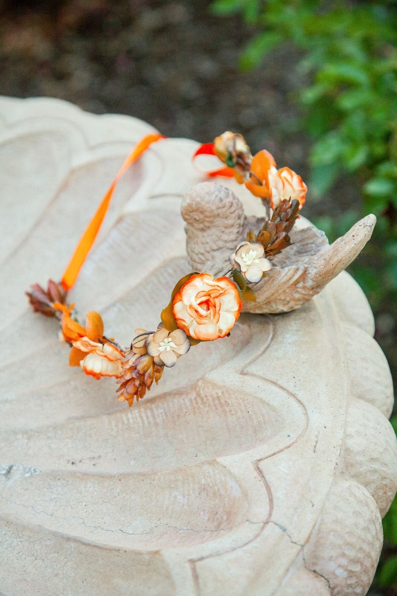 Handcrafted Rustic Fall Flower Crown Orange and Brown Halo image 0