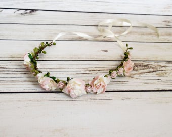 Blush and Ivory Flower Crown - Woodland Flower Crown - Wedding Hair Accessory - Pastel Pink Roses - Flower Girl Halo - Bridal Flower Crown